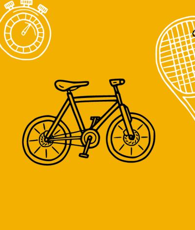 Graphic image of a ball, chronometer, bicycle and squash rackets on yellow background