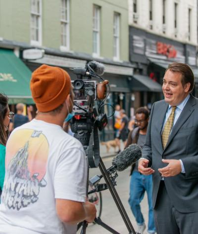 Picture of on camera interview in Westminster street.