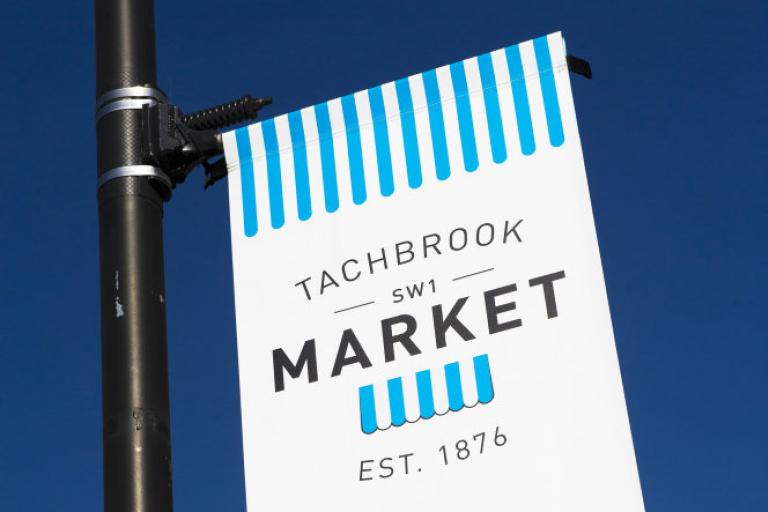Sign on a lamppost outside Tachbrook Street Market