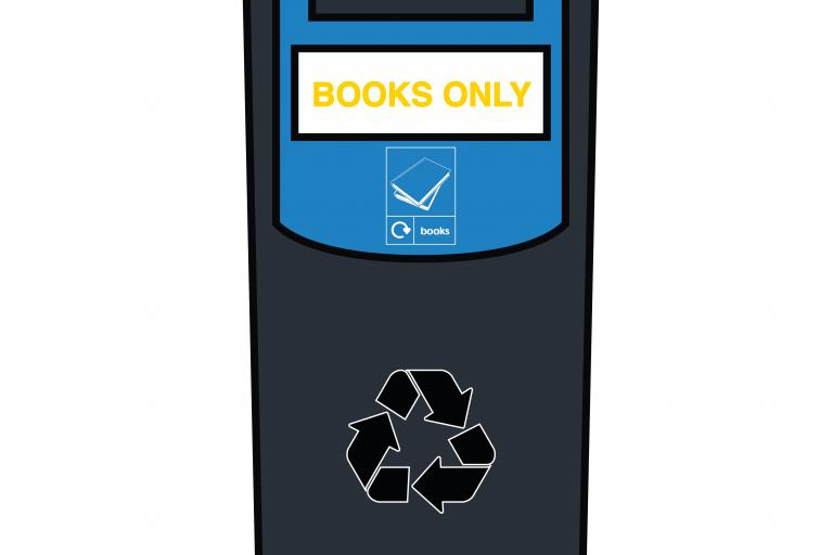 A black bin, labelled 'books only'