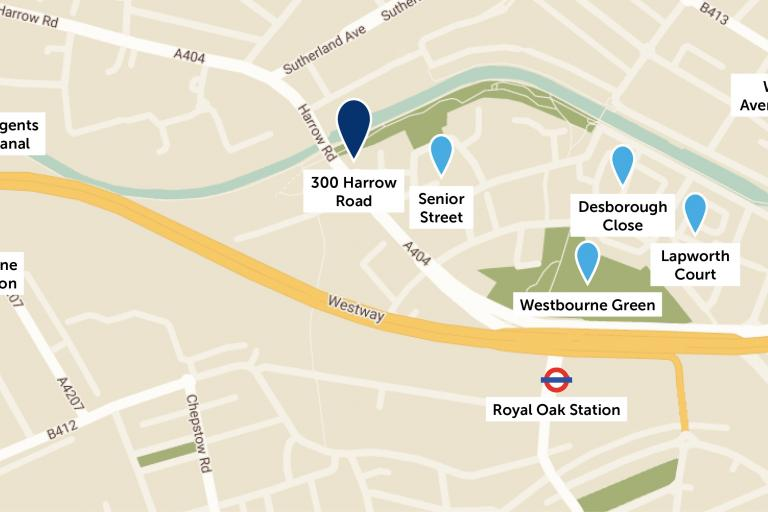 Map showing the location of different projects on 300 Harrow Road redevelopment site.jpg