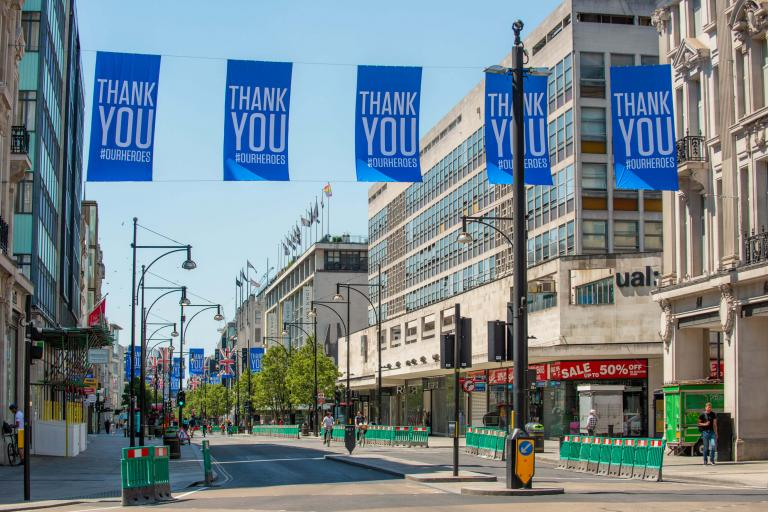 Picture of Oxford Street with 'thank you our heroes' banner