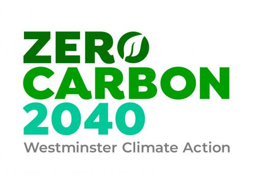 Logo for the climate emergency plan - it reads 'zero carbon 2040 - Westminster climate action'