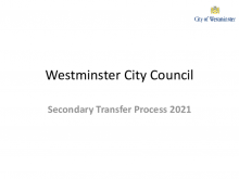 Westminster South secondary transfer process 2021