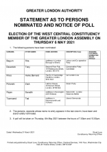Statement of persons nominated - West Central GLA constituency